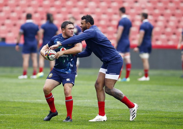 British and Irish Lions' Jamie George (left) and Courtney Lawes during the captains run Emirates Airline Park in Johannesburg, South Africa.