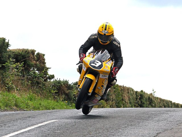 Gary Dunlop on the Joey's Bar Moto3 Honda at Armoy in 2018.