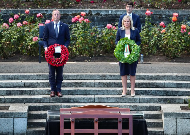 First Minister Paul Givan and deputy First Minister Michelle O'Neill attending a special Somme Ceremony of Commemoration in Dublin, to remember those who lost their lives in the battle. Ms O'Neill later told the BBC she opposes wars