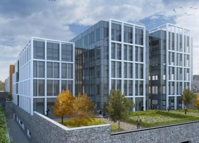 An artist's impression of the Grade A office block at Ebrington