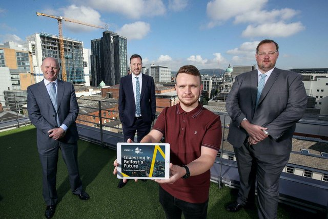 Joe O'Neill, Chair, Renewed Ambition and Chief Executive of Belfast Harbour, Robert Ditty, Executive Director, CBRE NI, Councillor Ryan Murphy, Chair of Belfast City Council's City Growth and Regeneration Committee and Gavin Elliott, Senior Director, Capital Markets, CBRE NI