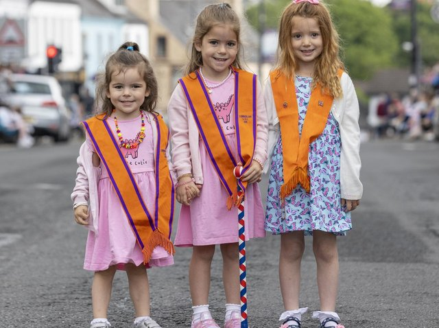 Pictured, left to right, Sisters Amelia, 3, and Anna Newell, 5, with their cousin 4-year-old Faith Newell from Kilkeel, Co. Down, at the annual Twelfth of July celebrations.
