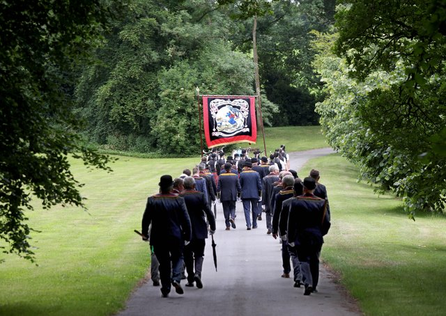 Members of Scarva's Royal Black Institution preceptory, Sir Knight Alfred Buller Memorial RBP 1000, return to Scarvagh House after laying a wreath at the war memorial in the Co Down village today.The annual Sham Fight held in the village each July 13th was cancelled for a second year because of the Coronavirus restrictions.PICTURE BY STEPHEN DAVISON