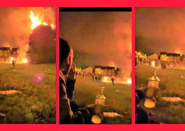 Frames from the video show bystanders shouting 'drop and roll'