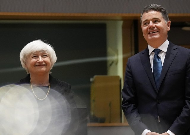 U.S. Treasury Secretary Janet Yellen, left, and Ireland's Finance Minister Paschal Donohoe pose prior to a meeting of the eurogroup finance ministers at the European Council building in Brussels on Monday, July 12, 2021. (AP Photo/Virginia Mayo)