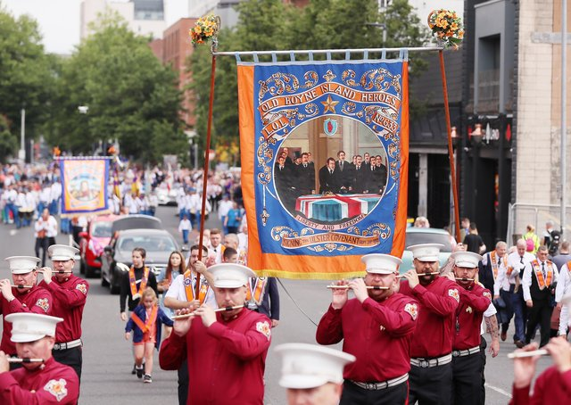 The parade in Shaftesbury Square, Belfast on Monday. Some nationalists look down their nose at our culture but nationalism has nothing to match the musical talent of the bands and artistic skill on the banners