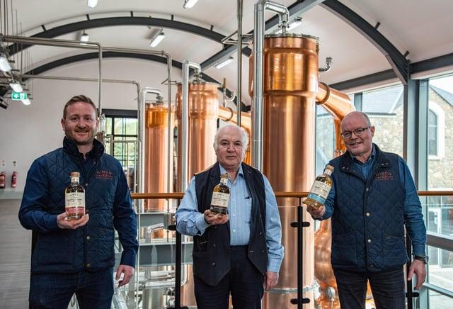 Hinch Distillery Head Distiller, Aaron Flaherty, Chairman Dr Terry Cross OBE and International Sales Director Michael Morris