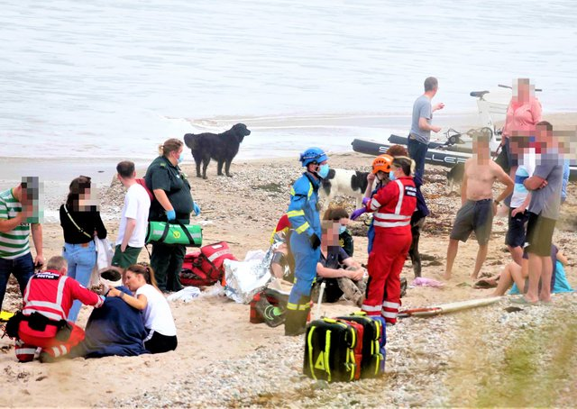The beach at Ballycastle after the incident involving water bikes (one of which is pictured in the background here)