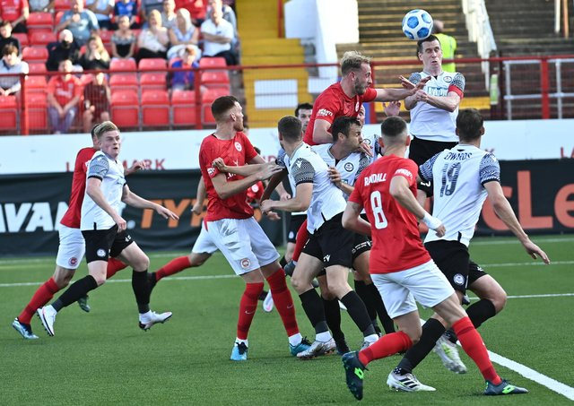 Larne and Bala Town players battle at Inver Park during the Europa Conference League meeting. It marked a first European home tie in club history for Larne. Pic by Pacemaker.