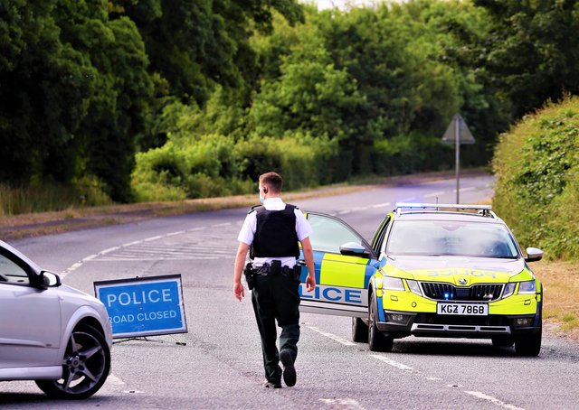 The scene of the incident on Thursday morning; the road was closed for roughly 12 hours as investigators got to work