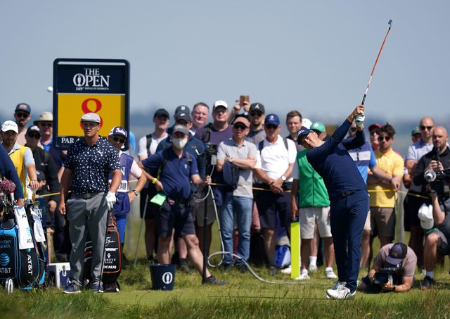 Jordan Spieth tees off the eighth at Royal St George's. Pic by PA.