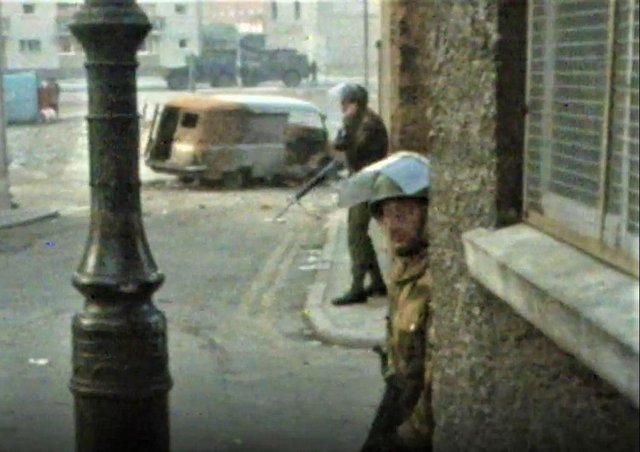 A soldier covered during Bloody Sunday
