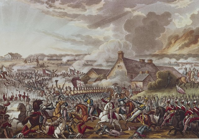 British and French soldiers fighting during the Battle of Waterloo, 18th June 1815. The farmhouse in the centre is 'La Haye Sainte'. Drawn and etched by W. Heath, aquatinted by J. C. Stadler, from 'The War of Wellington'. (Photo by Hulton Archive/Getty Images)