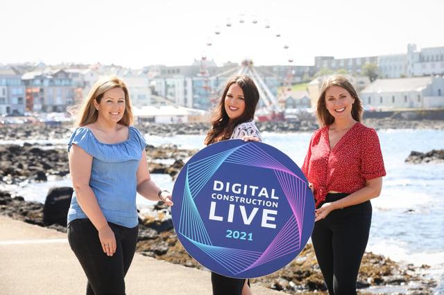 Presenter Sarah Travers with co-founders, digital construction expert Melanie Dawson, Director of Origin7 and Sarah Weir, Director of Weir Events