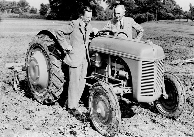 Pictured is Harry Ferguson and Henry Ford with an early Massey Ferguson tractor. The Ulster Folk Museum and Ulster Transport Museum will celebrate Ferguson Tractor Day this weekend, offering visitors an insight into the legacy of agricultural innovator, Harry Ferguson, and marking 75 years of the 'Wee Grey Fergie'. Taking place in collaboration with the Ferguson Heritage Tractor Society, activities will kick off today (Saturday 24th July), from 10.00am to 5.00pm.  Tickets for Ferguson Tractor Day should be booked online in advance. To book time slots and for further details visit www.nmni.com. Picture: Courtesy of National Museums Northern Ireland