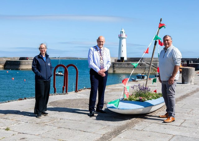 Mayor of Ards and North Down, Councillor Mark Brooks is pictured at Donaghadee Harbour ahead of the Bicentenary Celebrations with John Caldwell, Donaghadee Community Development Association and Heather McGuicken, Museum Manager, Ards and North Down Borough Council