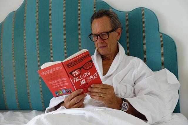 Richard E Grant reading 'The Talented Mr Ripley' in Hotel Miramare, Positano