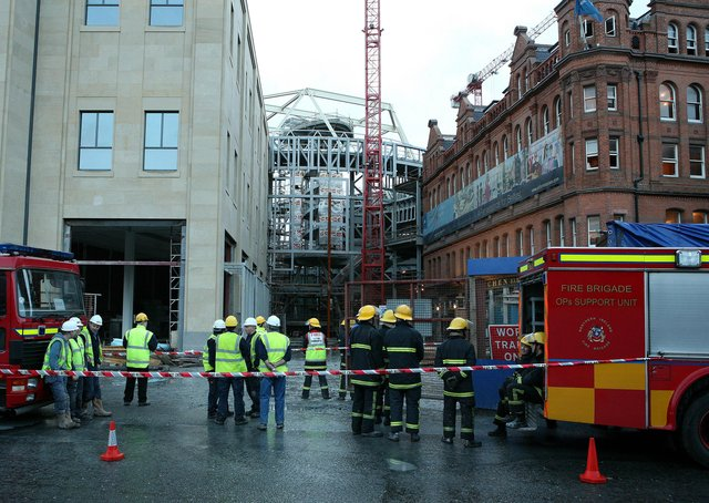 The Fire Brigade dealing with a fire at the Victoria Square site in Belfast city centre in 2007. Picture: Brian Little/News Letter archives