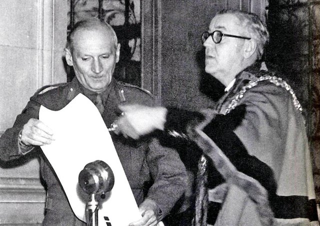 """Wakefield Mayor Councillor Harry Watson bestows the Freedom of the City on General Montgomery in 1947. On visit to Belfast in 1943 the Dean of Canterbury, Dr Hewlett Johnston, referred to the general as: """"General Montgomery is a progressive - a progressive soldier in the finest modern sense - learning all he can about modern war."""" Picture: JPI Media archives"""