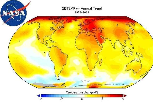 NASA data on temperature chanhe, post 1979
