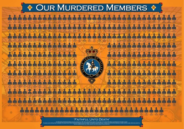An image depicting all the Orange Order members murdered, many of whom were RUC officers. The order has today spoken of the crisis of confidence in the leadership of the PSNI