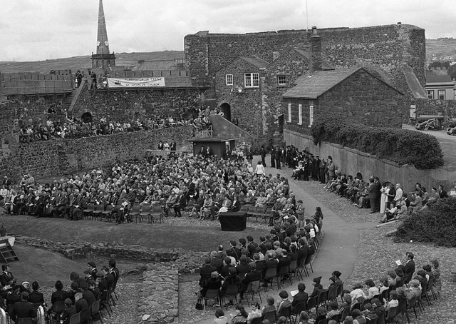 Carrickfergus council's guests of honour at the event to mark the castle's 800th birthday celebrations. The Marquess and Marchioness of Donegall marched to the castle with mayors from all over Northern Ireland, councillors, organisations and bands. Picture: News Letter archives