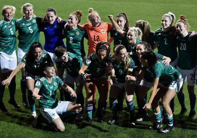 Northern Ireland players celebrate victory in the UEFA Women's Euro 2022 play-off match against Ukraine. None of their players have been selected for Team GB.